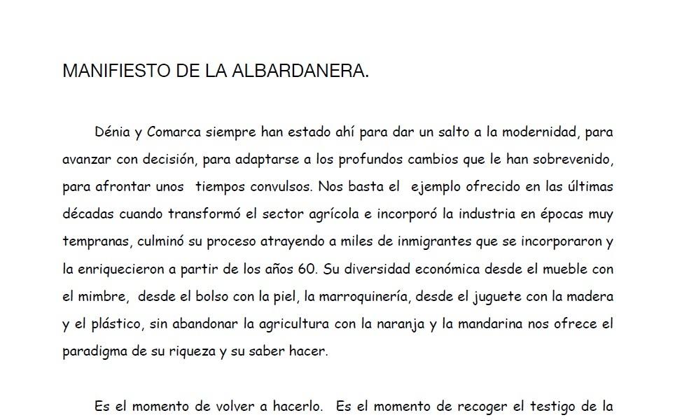 Manifiesto Albardanera