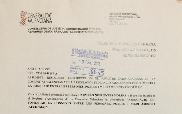 registro de la Asociación AFCOPMA